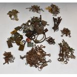 A large collection of vintage padlocks, locks and keys, 17th/18thC onwards, including cycle lock pat