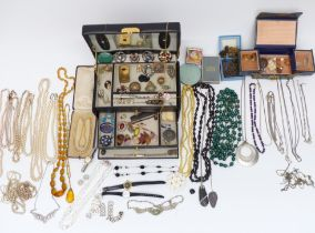 A collection of costume jewellery includingToledo brooches, antique necklaces, vintage brooches,