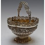 Victorian hallmarked silver swing handled pedestal bon bon dish with pierced and embossed