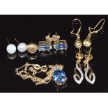 A 9ct gold necklace and earrings set with mystic topaz, three pairs of 9ct gold earrings and a