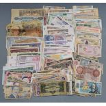 A collection of over 250 used world banknotes