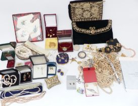 A collection of costume jewellery including silver necklace, silver earrings, faux pearls etc