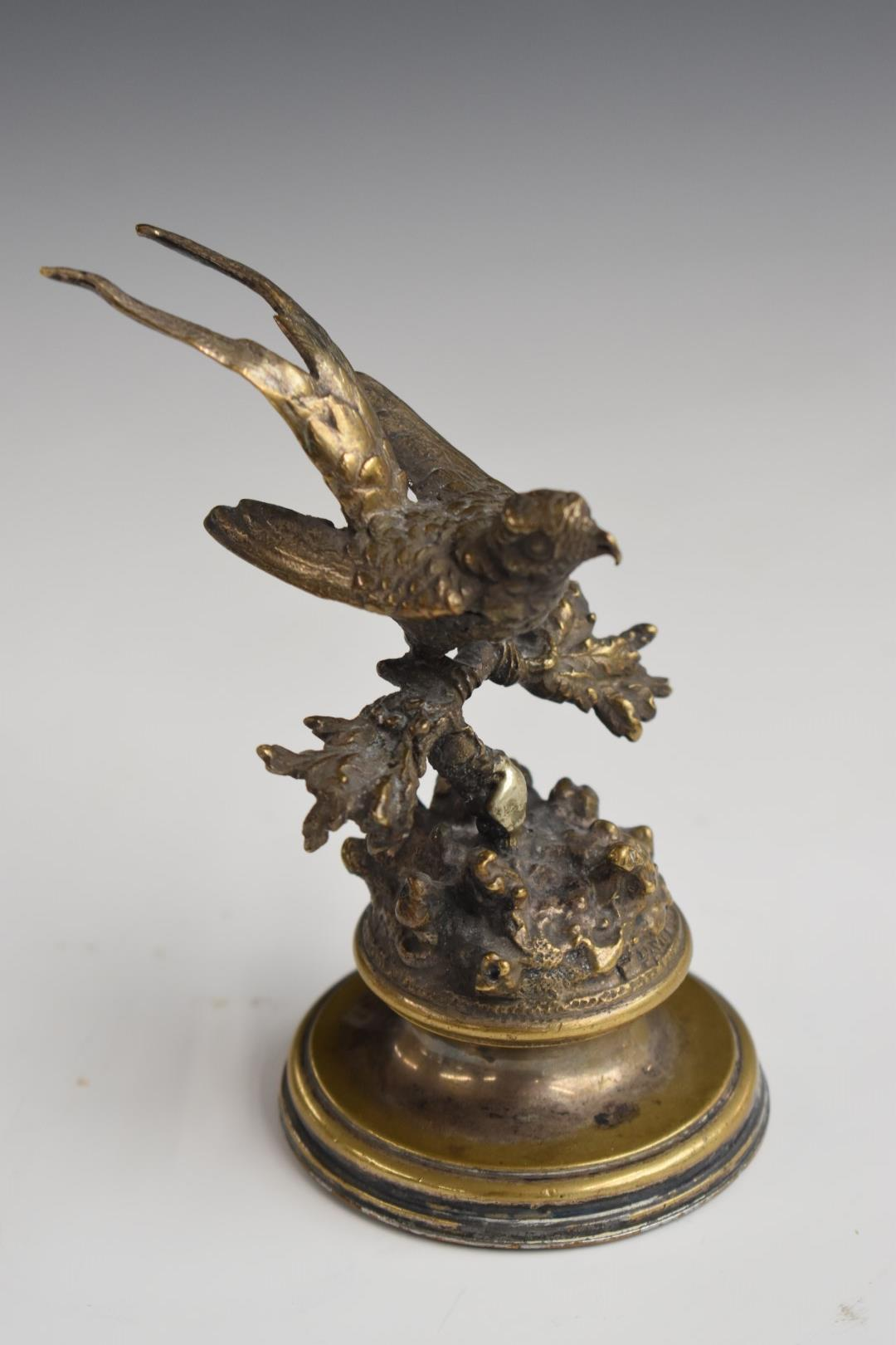 Ferdinand Pautrot (1832-1874) silver plated study of a bird on foliage, signed to edge, H12cm - Image 2 of 6