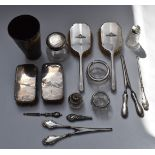 A collection ofhallmarked silver dressing table items and silver mounted cut glass including a pair