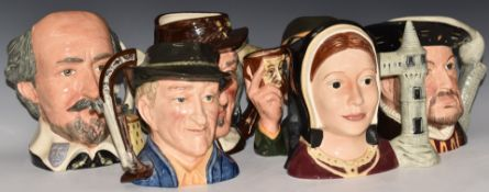 SixlargeRoyal Doulton character jugs including Henry VIII, The Collector, Antique Dealer and Izaac