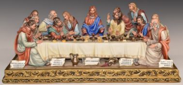 Capodimonte limited edition figural group The Last Supper, with certificate, H17 x L43cm