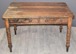 A 19thC ash two drawer farmhouse table, W125 x D90 x H72cm