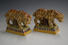 Staffordshire pair of tiger figures, H12cm