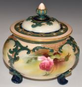 James Hadley forRoyal Worcester footed pot pourri decorated with roses, shape 183 and Hadley and