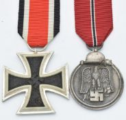 German WW2 Third Reich Nazi Iron Cross 2nd class, together with an Eastern Front Medal