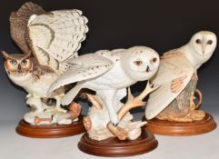 Three Franklin Mint owls Snowy, Barn and Horned, all with wooden bases, tallest 36cm