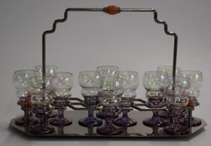 Art Deco kitsch plated drinks stand with 12 glasses, 20cm tall.