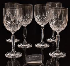 A set of six Waterford Crystal Lismore Pattern wine glasses, 19cm tall.