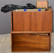 Retro mid century modern low Ladderax unit, to include bookshelf unit, unit with sliding doors and