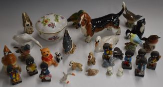 Beswick birds including Cedar Waxwing and swan with cygnet, Royal Worcester signed thimbles,