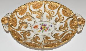 Meissen pedestal dish with twin shell handles and gilt and floral decoration, W31.5 x D21 x H6.5cm