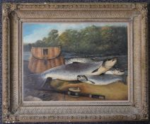 Oil on board the days catch, three fish with fishing rod and creel on the riverbank with river