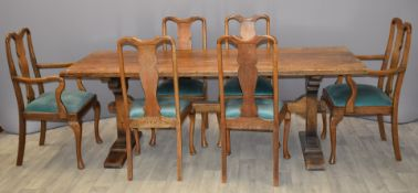 Oak refectory table and six chairs (2+4), W218 x D80 x H77cm