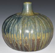 Studio pottery large drip glazed squat or pumpkin shaped vase with script to base, H21, diameter