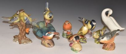 A collection of Royal Worcester, Lladro and other bird figures, tallest 11cm