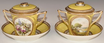 A pair of 18th/19thC twin handled porcelain covered chocolate cups and saucers decorated with a
