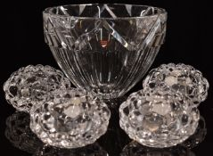 Orrefors cut glass bowl, signed to base and with original box (21.5cm diameter) together with four