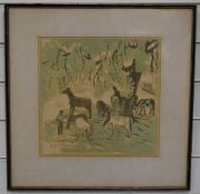 Edward Payne (1906-1991) watercolour figure with bridle among horses, label verso 'Dr David