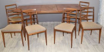 Retro mid century modern McIntosh table and six chairs, W154 x D92 x H74, extra leaf 46cm