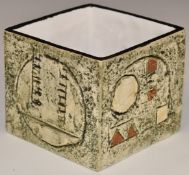 Troika cube vase with 'Troika Cornwall England' and LK monogram to base, H8.5cm