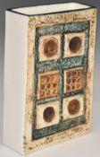 Troika vase of rectangular form with 'Troika England' and PB monogram to base, H17.5cm