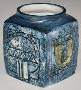 Troika cube vase with 'Troika Cornwall' and TW monogram to base, H9cm