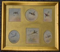 Jas (James) Stinton (Royal Worcester artist 1870-1961), framed set of six watercolours of birds in