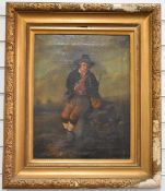 19thC oil on canvas fisherman resting with his rod and bags, 47 x 36cm, in period gilt frame