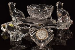 Eight pieces of Waterford Crystal comprising a pair of cats, gavel, clock, bowl, rose, a butterfly
