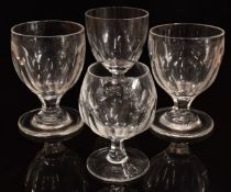 Four clear cut glass drinking glasses including a pair of rummers, a William Yeoman ale glass raised
