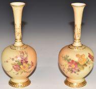 Pair of Royal Worcester blush ivory pedestal vases, shape 1661, H16.5cm