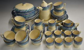 Approximately 107 pieces of Clarice Cliff Art Deco dinner, tea and coffee ware decorated in the Blue