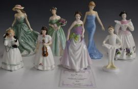 Eight Royal Doulton figurines including Figure of the Year Jessica, with certificate