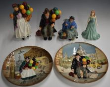 Royal Doulton character figures including Biddy Penny Farthing, Tuppence A Bag, and Balloon