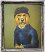 Comical oil on canvas of a dog in hunting gear, 60 x 50cm