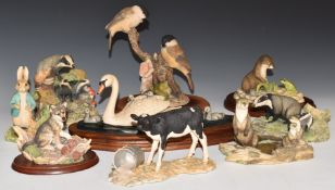 Collection of Border Fine Arts animal and bird figures including Anne Wall and Ayres examples