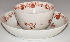 Worcester first periodporcelain tea bowl and saucer