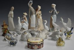 Collection of Lladro, Nao and Coalport figures, tallest 27cm