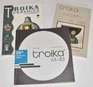 Three books on Troika comprising Troika Ceramics of Cornwall George Perrott, Troika Pottery St