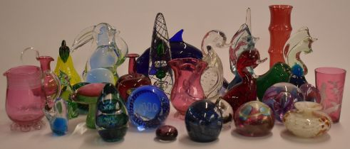 Thirty pieces of decorative glass including paperweights, Mdina, Norman Stuart Clarke, Wedgwood,