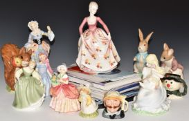 Coalport limited edition figures The Goose Girl and Denise, Royal Doulton 'England', Beswick and
