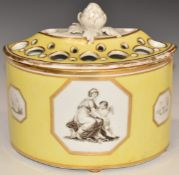 Chamberlain Worcester bough pot with three bat printed cartouches of classical figures against a