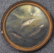 A. Roland Knight (British, 1879-1921) oil on board of three trout rising, diameter 28cm