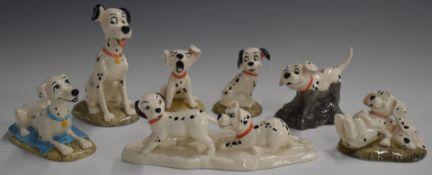 Seven Royal Doulton 101 Dalmatian figures