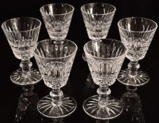A set of six Waterford Crystal Lismore drinking glasses, 10cm tall.
